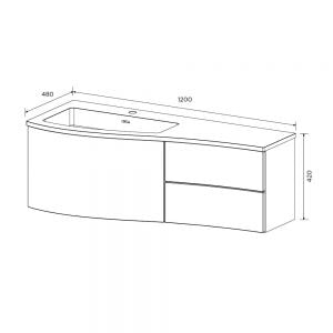 Elation Kiyo Graphite Gloss Vanity Unit 1200mm Left Handed Dimensions