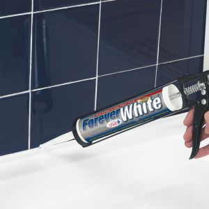 Forever White Sanitary Sealant Being Applied