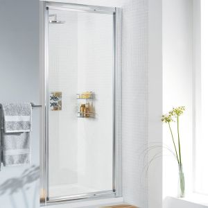 Lakes Classic White Pivot Shower Door with Optional Side Panel