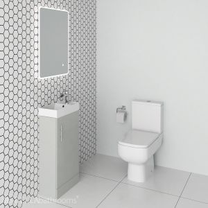 French Grey Modern Vanity Unit and Series 600 Toilet Cloakroom Suite