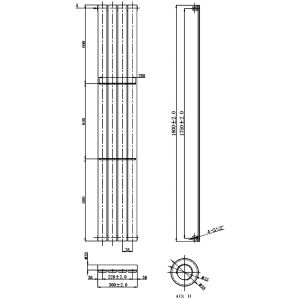 Front Line Zenith Anthracite Vertical Radiator 1800mm x 300mm Line Drawing
