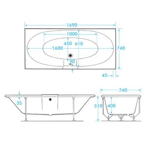 Frontline Altair Double Ended Tungstenite Chromatherapy Bath 1700 x 750mm Dimensions