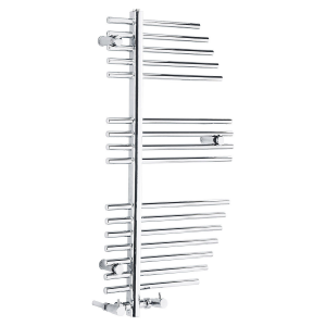 Frontline Burj Chrome Heated Towel Rail With 3 Geometric Hanging Areas W500 H1200
