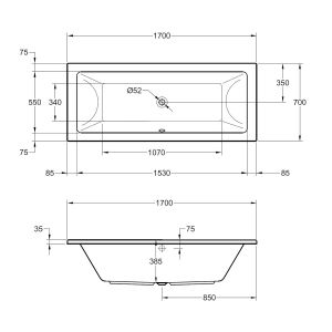 Frontline Carrera Luxury Double Ended Bath 1700 x 700mm Dimensions