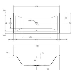 Frontline Carrera Luxury Double Ended Bath 1700 x 750mm Dimensions