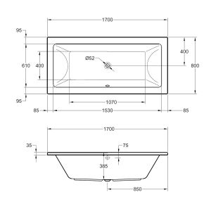 Frontline Carrera Luxury Double Ended Bath 1700 x 800mm Dimensions