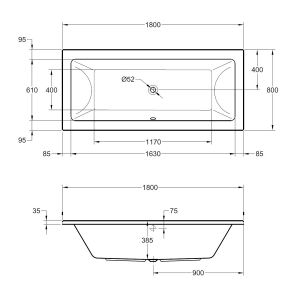 Frontline Carrera Luxury Double Ended Bath 1800 x 800mm Dimensions