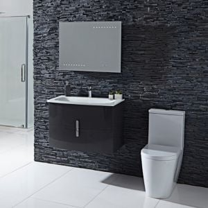 Frontline Emme Gloss Grey Vanity Unit and Toilet Set