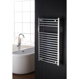 Frontline Flat Chrome Heated Towel Rail With Multiple Hanging Areas W600 H825