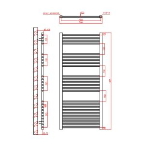 Frontline Flat Chrome Heated Towel Rail With Multiple Hanging Areas W600 H1350
