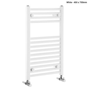 Frontline Flat White Heated Towel Rail With Multiple Hanging Areas W450 H700