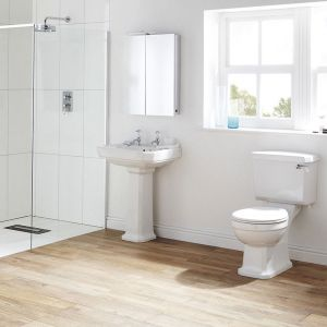 Frontline Holborn 3 Tap Hole Console Basin with Optional Ceramic Legs 845mm Lifestyle
