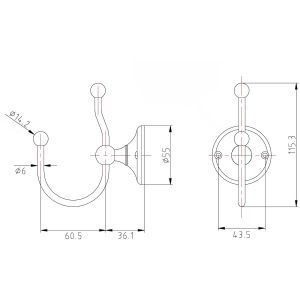 Frontline Holborn Double Robe Hook Dimensions
