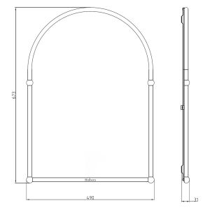 Frontline Holborn Traditional Arched Bathroom Mirror Dimensions