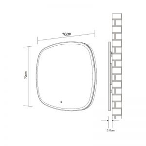 Frontline Opel Rounded LED Mirror Drawing