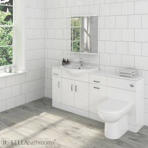 Nuie High Gloss White 4 Piece Vanity Unit Suite 1720 x 300mm