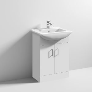 Nuie High Gloss White Vanity Unit with Deluxe Basin 550mm