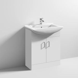 Nuie High Gloss White Vanity Unit with Deluxe Basin 650mm