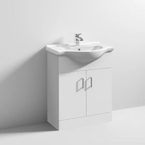 Nuie High Gloss White Vanity Unit with Standard Basin 650mm