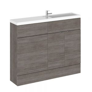 Hudson Reed Fusion Grey Avola Slimline Combination Furniture Pack 1100mm