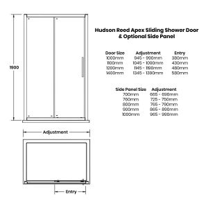 Hudson Reed Apex Sliding Shower Enclosure Dimensions