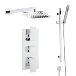 Hudson Reed Art Triple Thermostatic Shower with Slider Rail and Fixed Shower Head