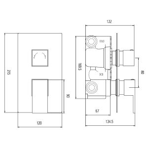 Hudson Reed Art Twin Concealed Thermostatic Shower Valve Dimensions