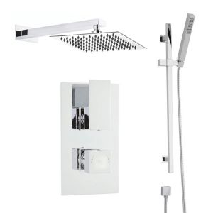 Hudson Reed Art Twin Thermostatic Shower with Slider Rail and Fixed Shower Head