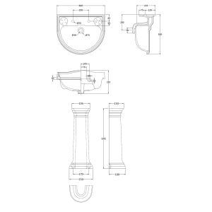 Hudson Reed Chancery 2 Tap Hole Basin 600mm Dimensions