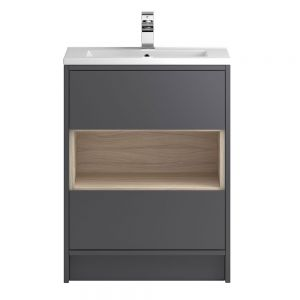 Hudson Reed Coast Grey Gloss Floor Standing Vanity Unit 600mm