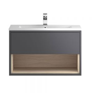 Hudson Reed Coast Grey Gloss Wall Hung Vanity Unit 800mm