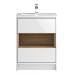 Hudson Reed Coast White Gloss Floor Standing Vanity Unit 600mm