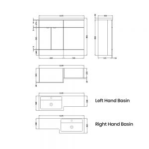 Hudson Reed Fusion Gloss Grey Mist Full Depth Combination Furniture Pack 1100mm Dimensions
