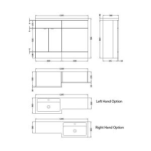 Hudson Reed Fusion Gloss Grey Mist Full Depth Combination Furniture Pack 1200mm Dimensions