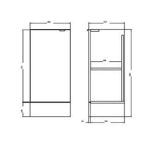 Hudson Reed Fusion Storage Unit 400mm line drawing