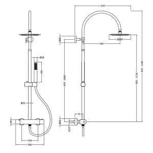 Hudson Reed Luxury Round Brass Complete Shower Kit Line Drawing