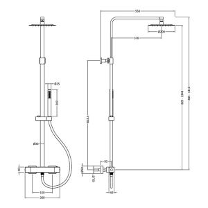 Hudson Reed Luxury Square Brass Complete Shower Kit Line Drawing