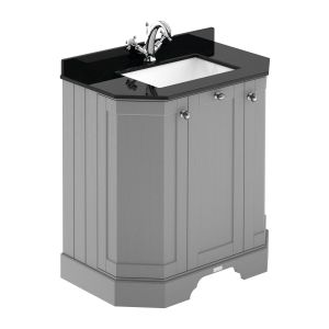 Hudson Reed Old London Storm Grey Angled Vanity Unit with Black 1 Hole Marble Top 750mm