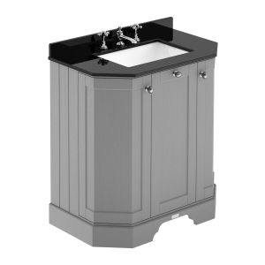 Hudson Reed Old London Storm Grey Angled Vanity Unit with Black 3 Hole Marble Top 750mm