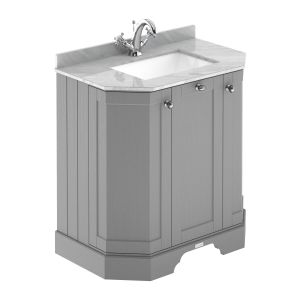 Hudson Reed Old London Storm Grey Angled Vanity Unit with Grey 1 Hole Marble Top 750mm