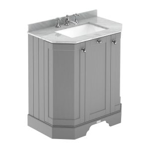 Hudson Reed Old London Storm Grey Angled Vanity Unit with Grey 3 Hole Marble Top 750mm