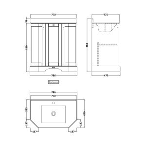 Hudson Reed Old London Storm Grey Angled Vanity Unit with White 1 Hole Marble Top 750mm Line Drawing