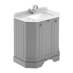 Hudson Reed Old London Storm Grey Angled Vanity Unit with White 1 Hole Marble Top 750mm