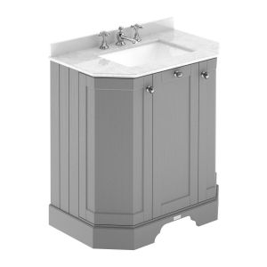 Hudson Reed Old London Storm Grey Angled Vanity Unit with White 3 Hole Marble Top 750mm