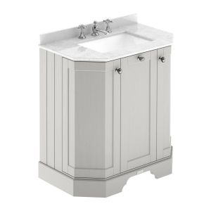 Hudson Reed Old London Timeless Sand Angled Vanity Unit with 3 Tap Hole White Marble Top 750mm