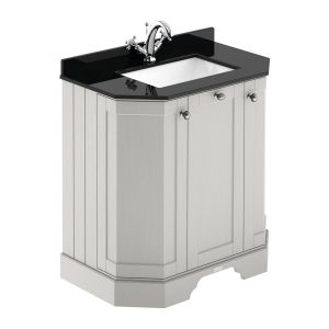 Hudson Reed Old London Timeless Sand Angled Vanity Unit with 1 Tap Hole Black Marble Top 750mm