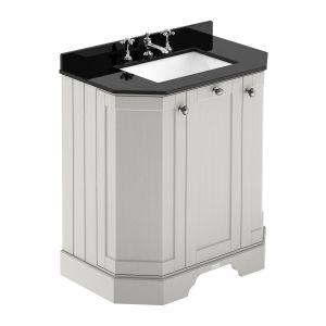 Hudson Reed Old London Timeless Sand Angled Vanity Unit with 3 Tap Hole Black Marble Top 750mm