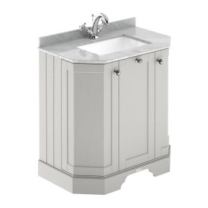 Hudson Reed Old London Timeless Sand Angled Vanity Unit with 1 Tap Hole Grey Marble Top 750mm