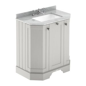 Hudson Reed Old London Timeless Sand Angled Vanity Unit with 3 Tap Hole Grey Marble Top 750mm