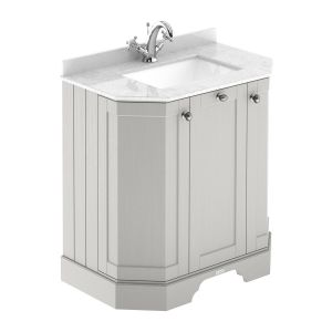 Hudson Reed Old London Timeless Sand Angled Vanity Unit with 1 Tap Hole White Marble Top 750mm